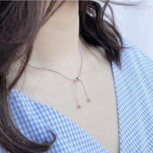 NEW 925 Sterling Beads Tassel Adjustable Necklace